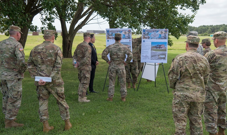 Mr. Travis Willer, 633rd Civil Engineer Squadron base community planner, briefs U.S. Air Force Maj. Gen. Chad Franks, Ninth Air Force commander, on future base improvements during a visit at Joint Base Langley-Eustis, Virginia, August 26, 2019.