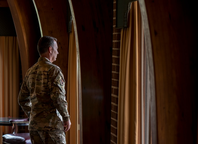 U.S. Air Force Maj. Gen. Chad Franks, Ninth Air Force commander, takes a break during a visit with Airmen at Joint Base Langley-Eustis, Virginia, August 26, 2019.