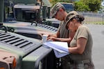 Puerto Rico National Guard members check and fuel military vehicles and electrical generators and replenish water distribution trucks on Aug. 27, 2019, in preparation to respond to Hurricane Dorian.