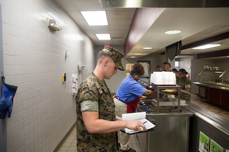 Food service Marines are tasked with overseeing the organization and planning end of the Marine Corps kitchen operations, which includes budgeting and coordinating the food service and subsistence program as well as all the logistics involved.