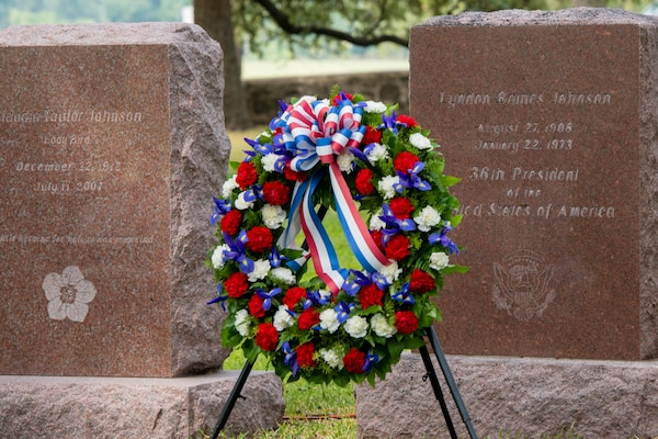 A wreath was placed on the grave of President Lyndon B. Johnson Aug. 27 during a ceremony at LBJ National Historical Park. The annual event honors what would have been Johnson's 111th birthday.