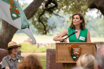 Catherine Robb, Lyndon B. Johnson's granddaughter, speaks at the Lyndon B. Johnson Birthday Observance Wreath-Laying Ceremony Aug. 27 at the LBJ National Historical Park at Johnson City, Texas. The annual event honors what would have been Johnson's 111th birthday.
