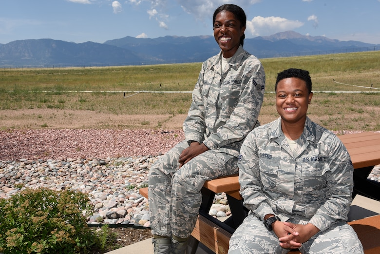 Airmen 1st Class Brittany Wright and Tiffany Duffus, 21st Operational Medical Readiness Squadron dental lab technicians, tell their story of successfully responding to a friend with suicidal thoughts Aug. 22, 2019 at Peterson Air Force Base, Colorado. Both Airmen received the Air Force Achievement Medal and were asked to attend the Air Force Association National Convention in September. (U.S. Air Force photo by Staff Sgt. Alexandra M. Longfellow)