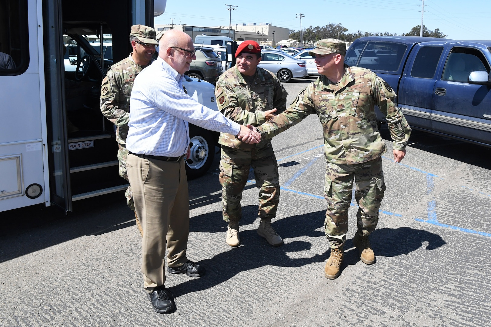 John Roth, performing the duties of the Under Secretary of the Air Force (left), is greeted by Col. Scott Brodeur, Combined Space Operations Center (CSpOC) director (right), and Brig. Gen. Matthew Davidson, 14th Air Force vice commander (center), during a visit at Vandenberg AFB, Calif., Aug. 27, 2019