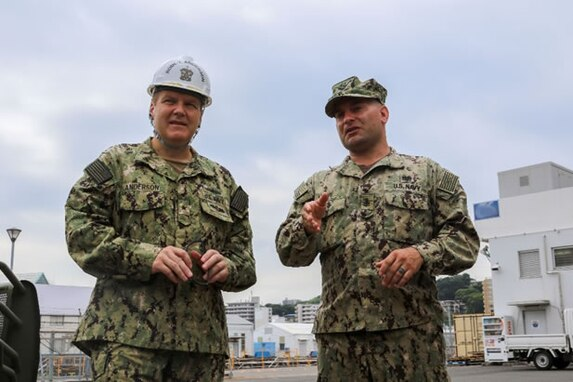 Rear Adm. Tom Anderson (left), commander, Navy Regional Maintenance Center and Naval Sea Systems Command deputy commander, Ship Maintenance and Modernization