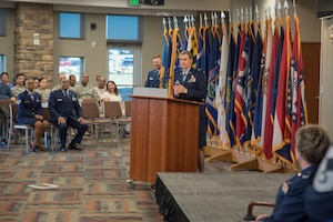 Col. Amy J. Boehle, Headquarters Individual Reservist Readiness and Integration Organization (HQ RIO), commander, addresses attendees during her assumption of command ceremony Aug. 28, 2019, at Buckley Air Force Base, Colo. Boehle entered the Air Force in 1993 through the Reserve Officer Training Corps (ROTC), program at the University of New Mexico. She holds advanced degrees from George Washington University and the University of Maryland. (U.S. Air Force photo by Master Sgt. Eric Amidon)