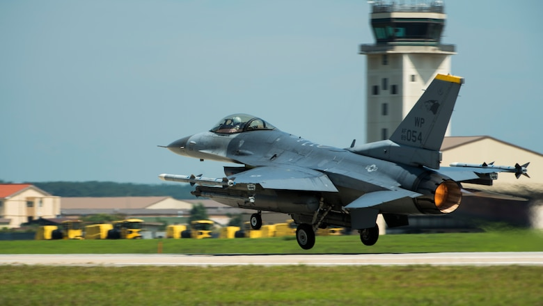 A U.S. Air Force F-16 Fighting Falcon from the 80th Fighter Squadron, Kunsan Air Base, Republic of Korea, takes off for a routine training flight Aug. 26, 2019. The 8th Fighter Wing regularly flies it's F-16s for various training opportunities, to include flying alongside units from the Republic of Korea Air Force's 38th Fighter Group. (U.S. Air Force photo by Senior Airman Stefan Alvarez)