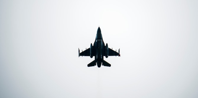 A Republic of Korea KF-16 Fighting Falcon assigned to the 38th Fighter Group flies overhead during a training flight at Kunsan Air Base, Republic of Korea, Aug. 27, 2019. The 38th Fighter Group trains with the 8th Fighter Wing, 80th Fighter Squadron and 35th FS. (U.S. Air Force photo by Senior Airman Stefan Alvarez)