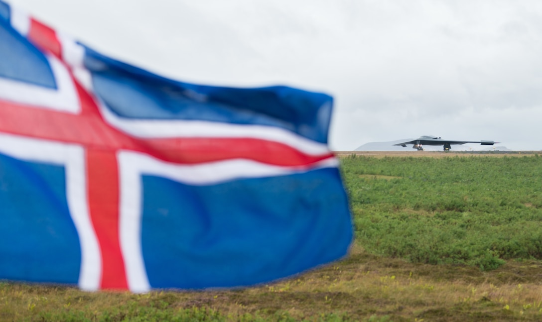 A B-2 Spirit Stealth Bomber from Whiteman Air Force Base, Missouri, lands at Keflavik Air Base, Iceland, Aug. 28, 2019. This is the B-2s first time landing in Iceland.  While in Iceland Airmen from Whiteman conducted hot-pit refueling, which is a method of refueling an aircraft without shutting down the engines. The use of strategic bombers in Iceland helps exercise  Keflavik Air Base as a forward location for the B-2, ensuring that it is engaged, postured and ready with credible force to assure, deter and defend the U.S. and its allies in an increasingly complex security environment. (U.S. Air Force photo by Senior Airman Thomas Barley)