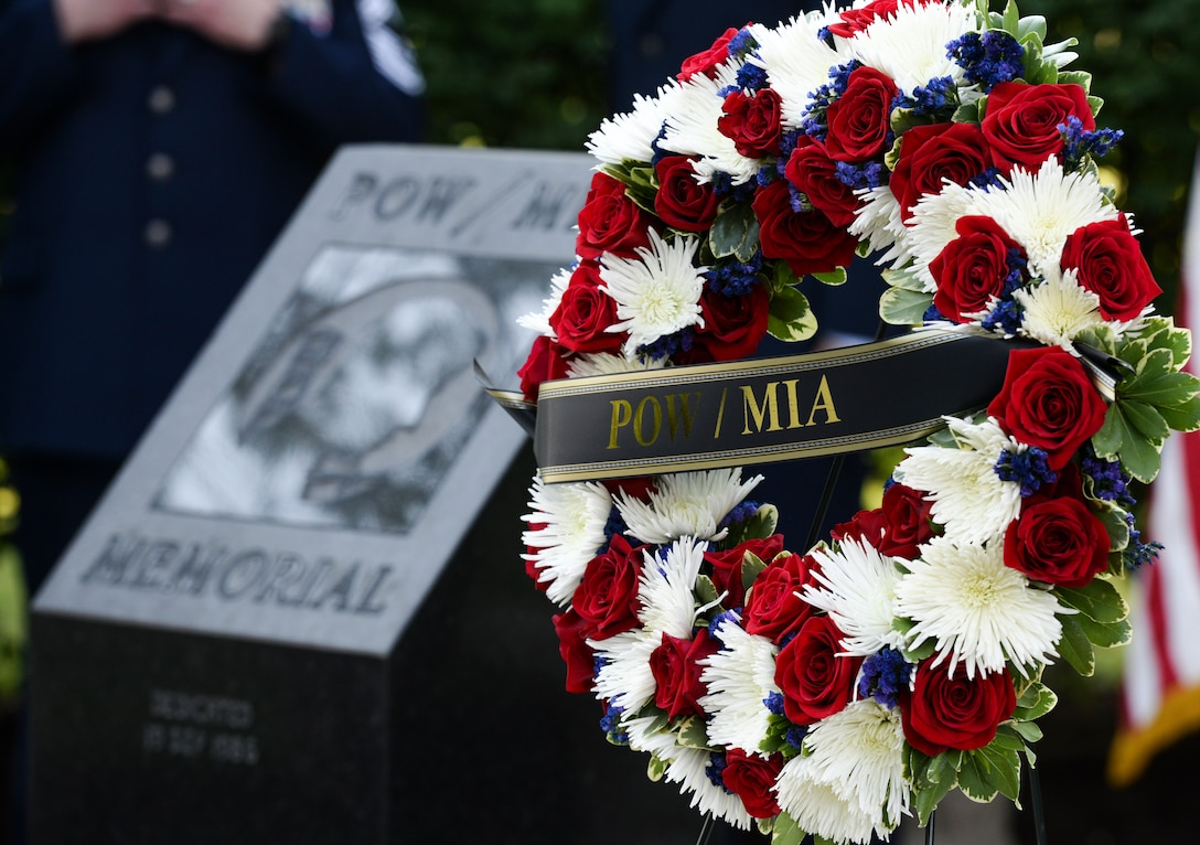 A wreath sits on a stand at the POW/MIA memorial, Wright-Patterson Air Force Base, Ohio, Sept. 21, 2018. The wreath was placed during a POW/MIA ceremony which was held for base personnel a part of National POW/MIA Recognition Day. (U.S. Air Force photo by Wesley Farnsworth)