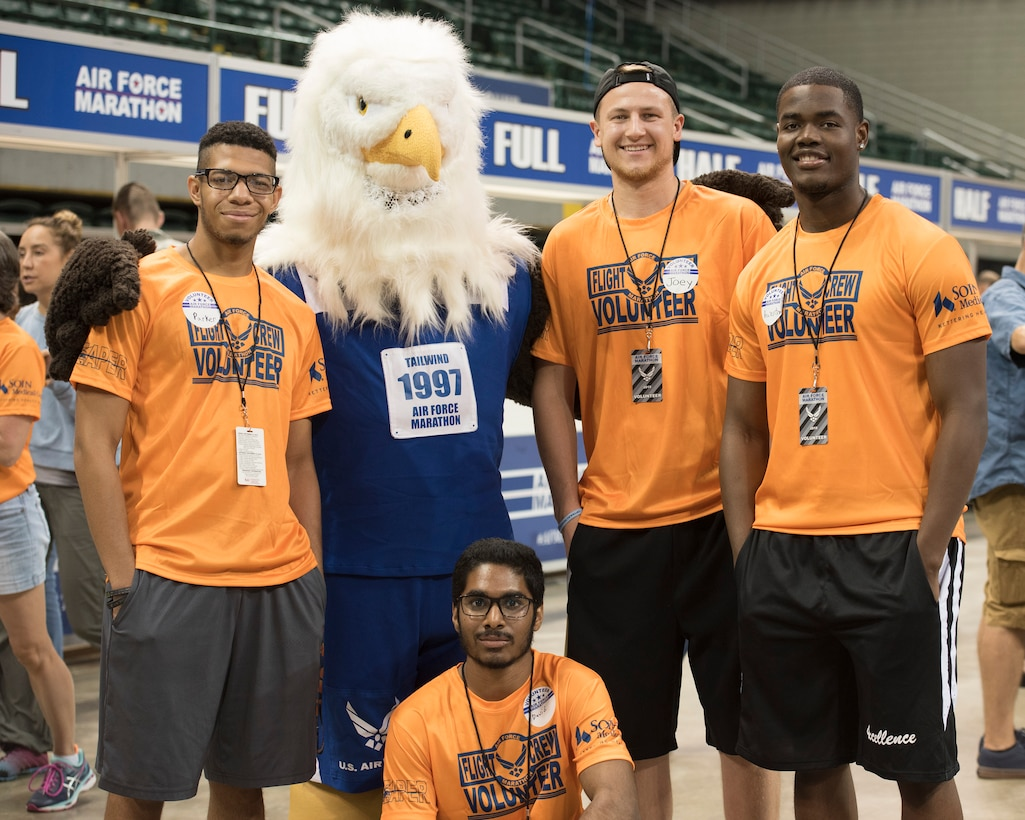 Opportunities are still available to volunteer at The Air Force Marathon Sept 19-21. Volunteers can help with pre-race preparations, the Sports and Fitness Expo and many other marathon activities.  The marathon is also a perfect opportunity for a team-building event for groups such as civic groups, businesses or student organizations to volunteer as a group. (U.S. Air Force photo/Michelle Gigante)
