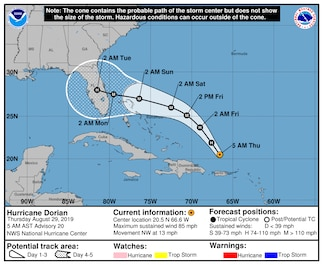 Keep an eye on Hurricane Dorian this Labor Day weekend as it makes its way toward the United States. Review your evacuation plan, update your emergency kit, and stay informed through Marine Corps Enterprise Mass Notifications.