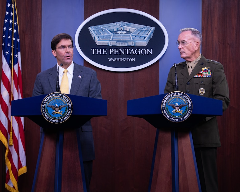 U.S. Secretary of Defense Mark T. Esper speaks to members of the press during his first joint press conference with Marine Corps Gen. Joe Dunford, chairman of the Joint Chiefs of Staff, at the Pentagon Briefing Room, on Aug. 28, 2019.