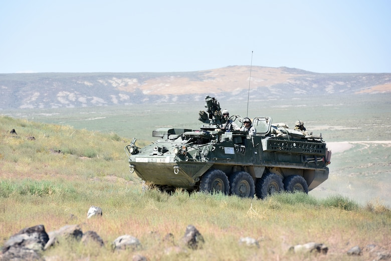 A Stryker vehicle with the 56th Stryker Brigade, Pennsylvania Army National Guard, heads to a remote location.