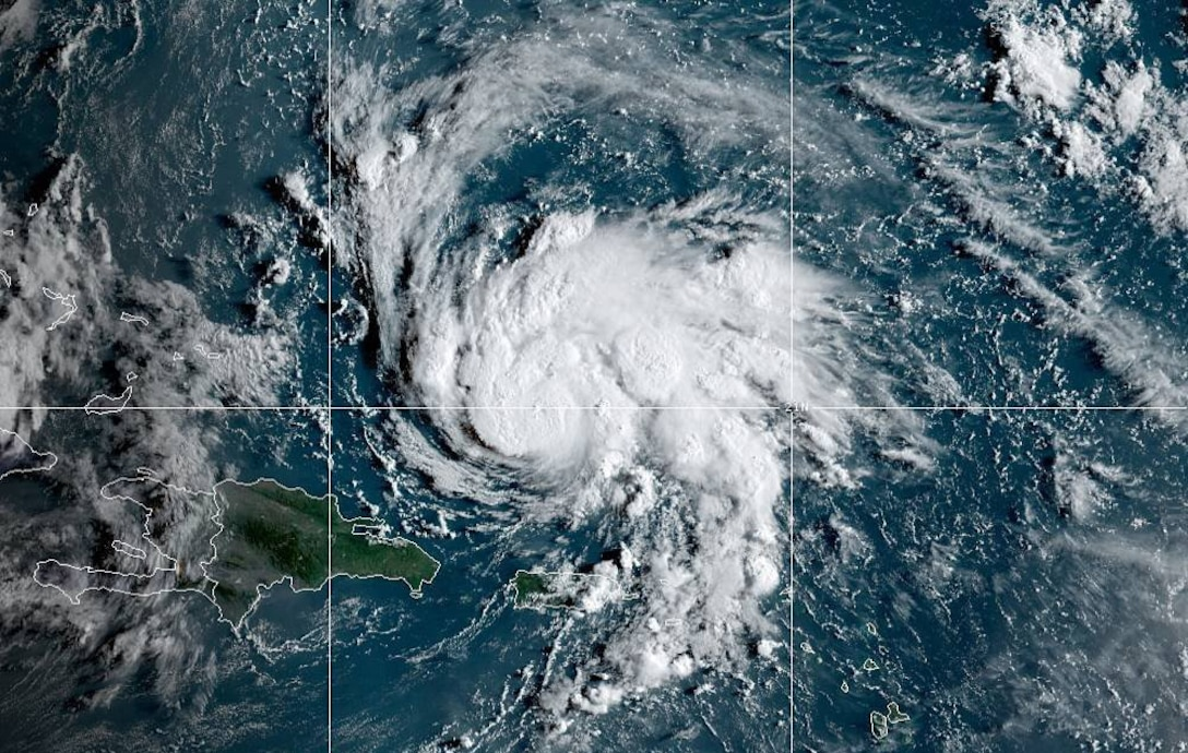 An image of Hurricane Dorian taken from satellites the National Oceanic and Atmospheric Administration personnel use to track weather on Aug. 29, 2019, in the Atlantic Ocean. (Courtesy photo illustration by NOAA)
