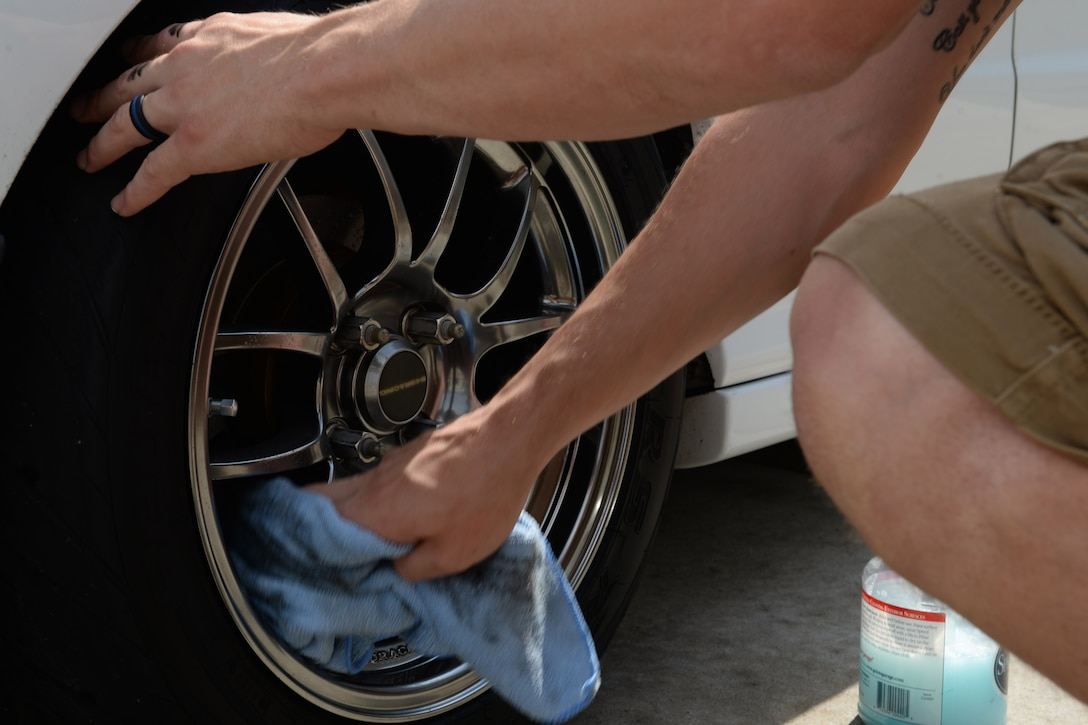 At work, Hebert carefully inspects items that need repairs. He uses that attention to detail when it comes to cleaning his cars, too.