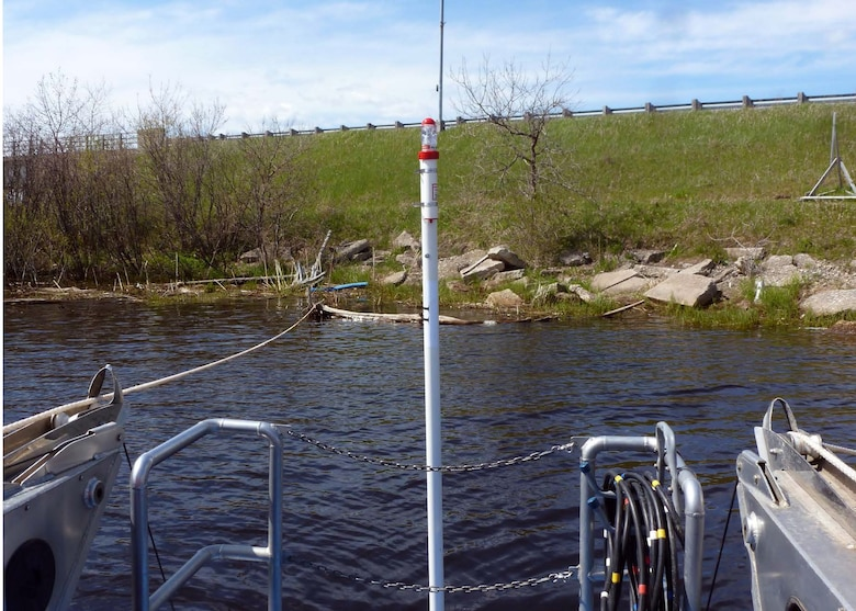 An acoustic receiver is placed in the Manistique River AOC