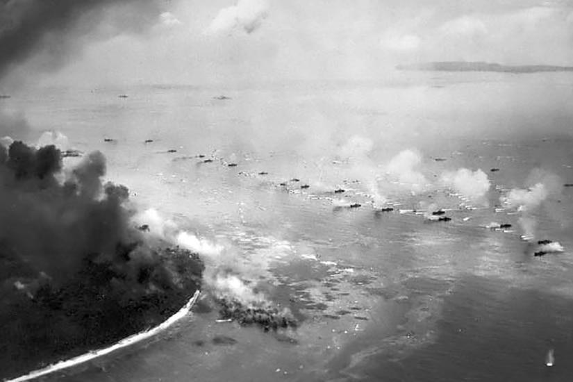Marines land on Peleliu beaches.