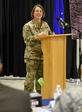 72nd Medical Group Commander Col. Jennifer Trinkle was the featured guest speaker at the Women's Equality Day Luncheon at the Tinker Chapel Aug. 26. The day commemorates the passage of the 19th Amendment to the Constitution, guaranteeing women's right to vote. (U.S. Air Force photo/Kelly White)