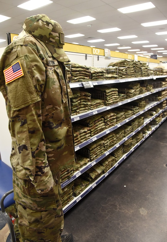 Operational Camouflage Pattern uniforms are now being phased in throughout the year at the Military Clothing Sales store in the Tinker Main Exchange. The transition to OCP's will be complete April. 1, 2021. (U.S. Air Force photo/Kelly White)