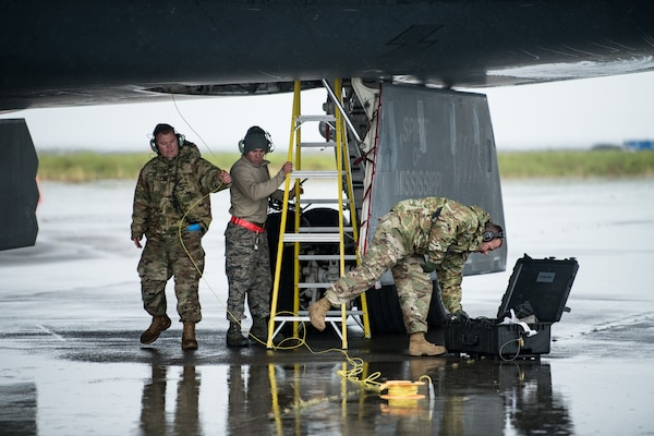 Airmen from the 509th Logistics Readiness Squadron fuel distribution operators from Whiteman Air Force Base, Missouri conduct a hot-pit refueling on a B-2 Spirit Bomber at Naval Air Station Keflavik, Iceland, August 28, 2019. Hot-pit refueling is a method of refueling an aircraft without shutting down the engines. This is the B-2s first time landing in Iceland. Forward locations like Iceland enhance the collective defense capabilities of both the U.S. and NATO allies.