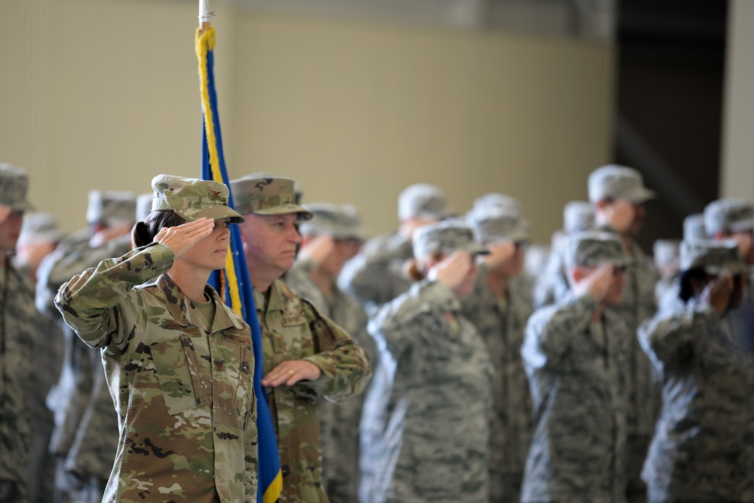 U.S. Air Force Col. Heather Blackwell, 81st Training Wing commander, salutes during the Second Air Force change of command ceremony on Keesler Air Force Base, Mississippi, Aug. 29, 2019. The