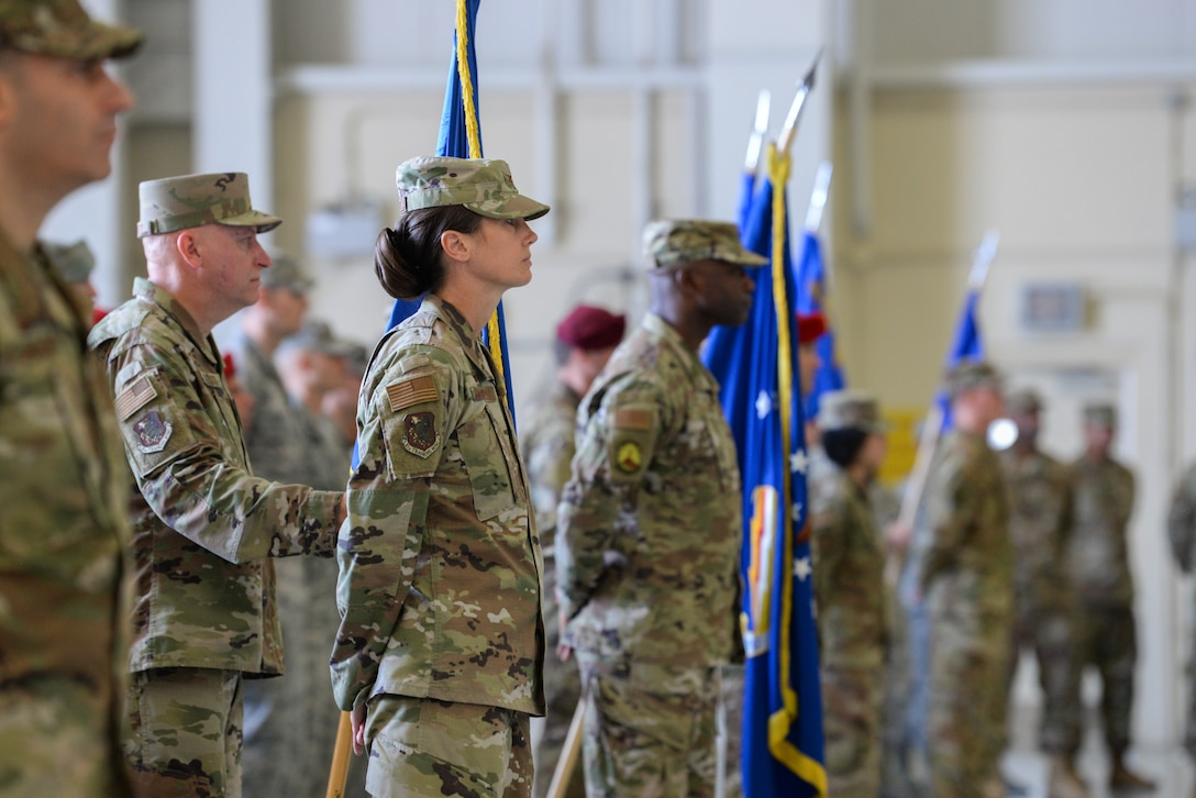 U.S. Air Force Col. Heather Blackwell, 81st Training Wing commander, stands at parade rest during the Second Air Force change of command ceremony on Keesler Air Force Base, Mississippi, Aug. 29, 2019. The ceremony is a symbol of command being exchanged from one commander to the next. Tullos assumed command of the Second Air Force from Maj. Gen. Timothy Leahy. (U.S. Air Force photo by Airman 1st Class Spencer Tobler)