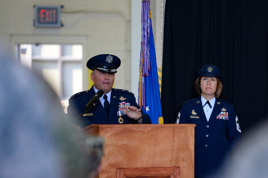 U.S. Air Force Maj. Gen. Timothy Leahy, Second Air Force commander, delivers remarks during the Second Air Force change of command ceremony on Keesler Air Force Base, Mississippi, Aug. 29, 2019. The ceremony is a symbol of command being exchanged from one commander to the next. Leahy relinquished command of the Second Air Force to Maj. Gen. Andrea Tullos. (U.S. Air Force photo by
