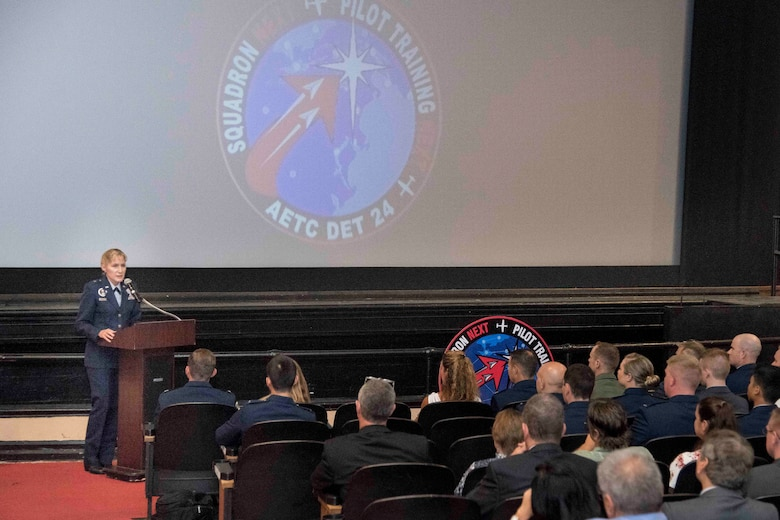 Brig. Gen. Jeannie Leavitt, Air Force Recruiting Service commander, speaks to the graduating class of the Pilot Training Next August 29, 2019, at Joint Base San Antonio-Randolph, Texas. PTN is a program to explore and potentially prototype a training environment that integrates various technologies to produce pilots in an accelerated, cost efficient, learning-focused manner. (U.S. Air Force photo by Sean M. Worrell)