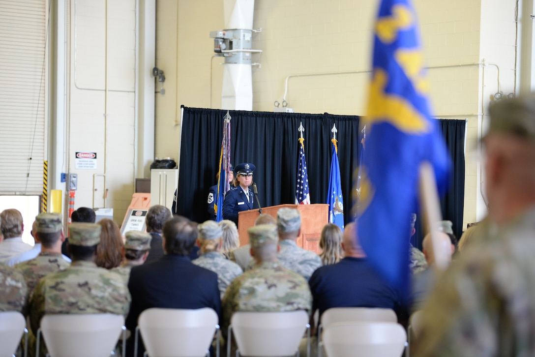 U.S. Air Force Maj. Gen. Andrea Tullos, Second Air Force  commander, delivers remarks during the Second Air Force change of command ceremony on Keesler Air Force Base, Mississippi, Aug. 29, 2019. The ceremony is a symbol of command being exchanged from one commander to the next. Tullos assumed command of the Second Air Force from Maj. Gen. Timothy Leahy. (U.S. Air Force photo by Airman 1st Class Spencer Tobler)