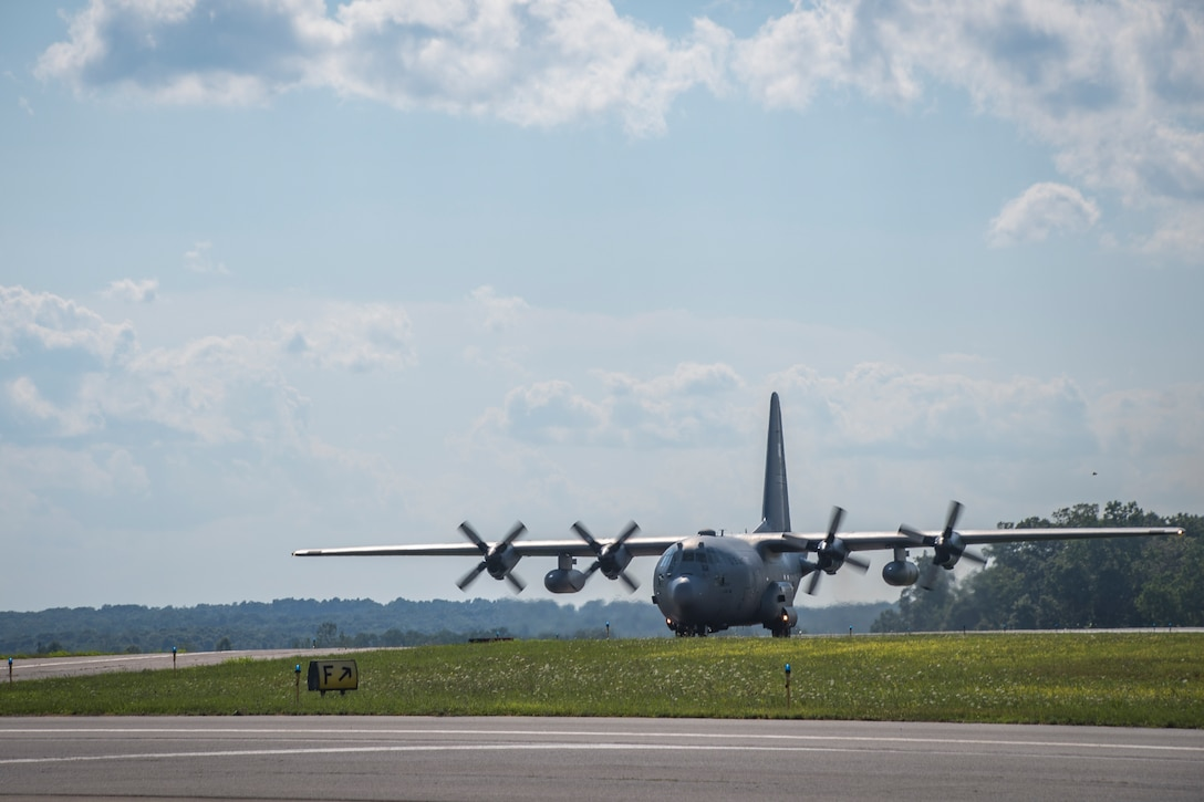A third newly upgraded C-130H2 Hercules, tail 79287, arrives, Aug. 8, 2019, and is now assigned to the 179th Airlift Wing, Mansfield, Ohio. These aircraft were recently upgraded at Dyess AFB, TX. and arrived with Electronic Propeller Control Systems (EPCS), ensuring they meet requirements for incorporating modular blade technology (NP2000), an upgrade that would give them eight bladed propellers. (U.S. Air National Guard photo by Tech. Sgt. Joe Harwood)
