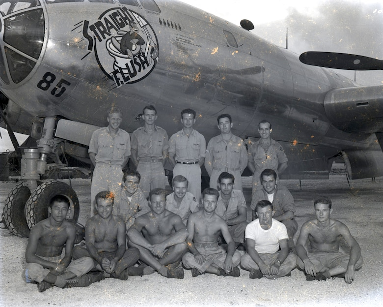 "he B-29 Superfortress nicknamed ""Straight Flush"" and aircrew. Straight Flush and its regular crew flew the plane over Japan and radioed that the weather appeared sufficiently clear before the Enola Gay dropped the atomic bomb on Hiroshima Aug. 6, 1945. Pictured: (Top row, left to right) 2nd Lt. Ira J. Weatherly, 2nd Lt. Franklin Wey, Maj. Claude R. Eatherly, Capt. Francis D. Thornhill, and 2nd Lt Thoms Grennan. (Middle row, left to right) Sgt. Jack Bivans, Sgt. Gillon T. Niceley, S/Sgt. Pasquale Baldasaro, Sgt. Albert Barsumian. Bottom row, left to right) Cpl. Yive J.H. Ping, Pfc. Harold E. Kinsley, Pfc. Chester S. Chudy, Sgt. Howard A. Thompson, T/Sgt. Donald D. Beaudette, and Cpl. William E. Smith. (U.S. Air Force photo)"