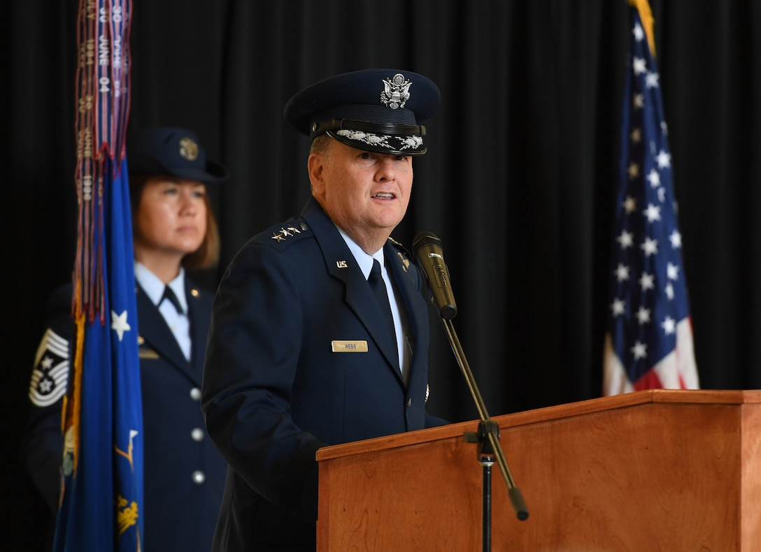 U.S. Air Force Lt. Gen. Brad Webb, commander of Air Education and Training Command, delivers remarks during the Second Air Force change of command ceremony on Keesler Air Force Base,