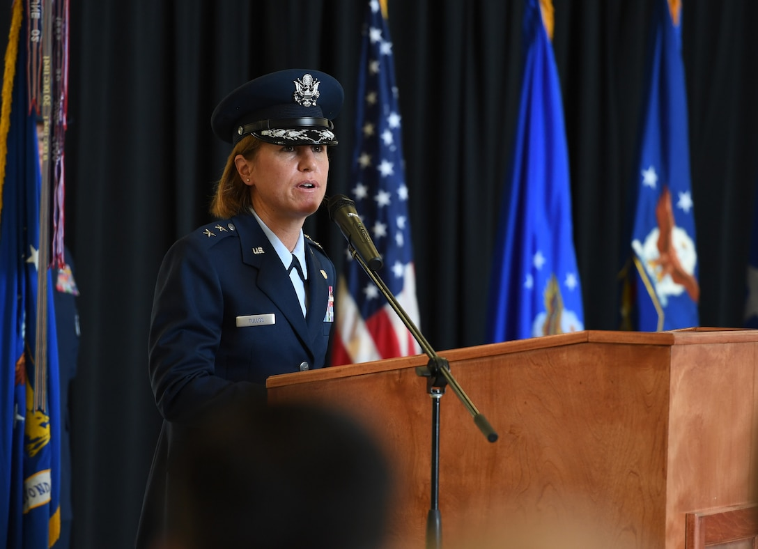 U.S. Air Force Maj. Gen. Andrea Tullos, Second Air Force  commander, delivers remarks during the Second Air Force change of command ceremony on Keesler Air Force Base, Mississippi, Aug. 29, 2019. The ceremony is a symbol of command being exchanged from one commander to the next. Tullos assumed command of the Second Air Force from Maj. Gen. Timothy Leahy. (U.S. Air Force photo by Kemberly Groue)