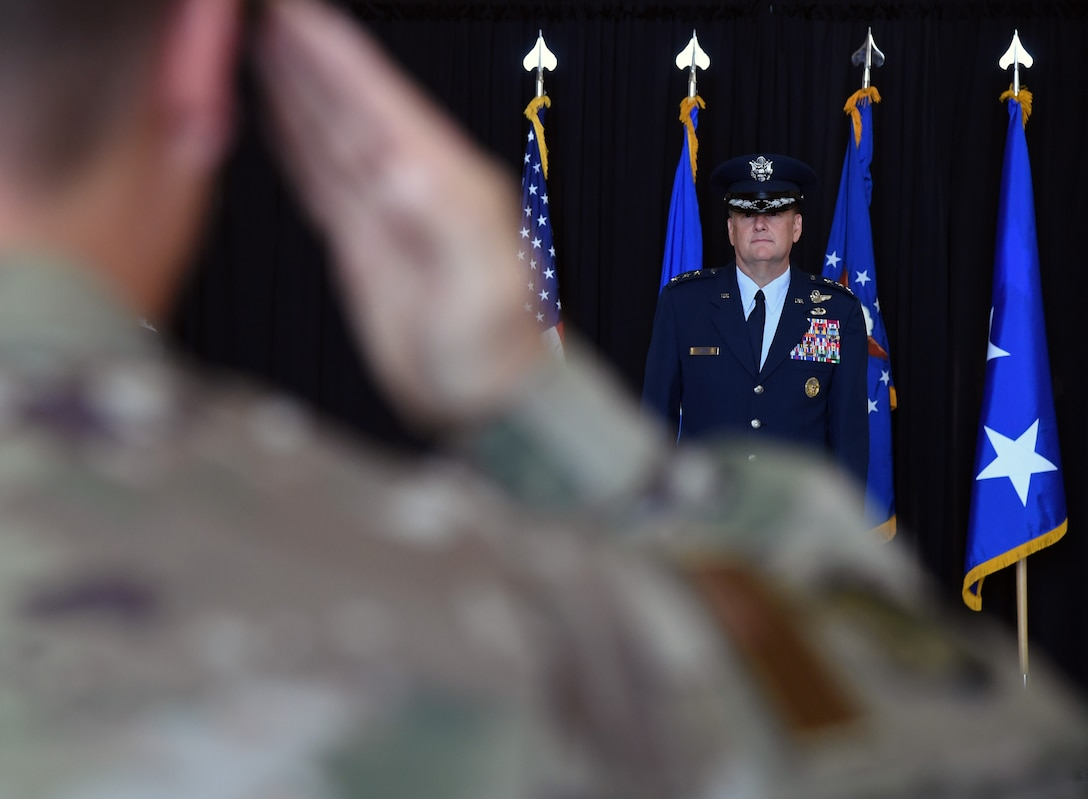 U.S. Air Force Lt. Gen. Brad Webb, commander of Air Education and Training Command, stands at attention during the Second Air Force change of command ceremony on Keesler Air Force Base, Mississippi, Aug. 29, 2019. The ceremony is a symbol of command being exchanged from one commander to the next. Maj. Gen. Andrea Tullos assumed command of the Second Air Force from Maj. Gen. Timothy Leahy. (U.S. Air Force photo by Kemberly Groue)