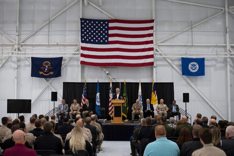 North Dakota Senator John Hoeven offers remarks during a ceremony August 28, 2019, on Grand Forks Air Force Base, North Dakota. The ceremony marked the official opening of U.S. Customs and Border Protection's newly-renovated National Air Security Operations Center, an unmanned aerial system training center on base. (U.S. Air Force photo by Senior Airman Elora J. Martinez)