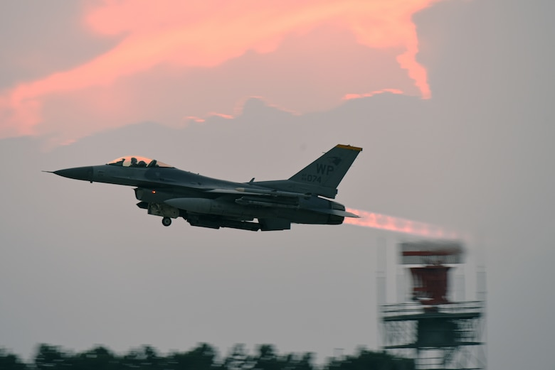 A U.S. Air Force pilot with the 35th Fighter Squadron takes off in an F-16 Fighting Falcon during routine training at Kunsan Air Base, Republic of Korea, Aug. 29, 2019. The 8th Fighter Wing regularly flies its F-16s for various training opportunities, to include flying alongside units from the Republic of Korea Air Force's 38th Fighter Group. (U.S. Air Force photo by Staff Sgt. Joshua Edwards)