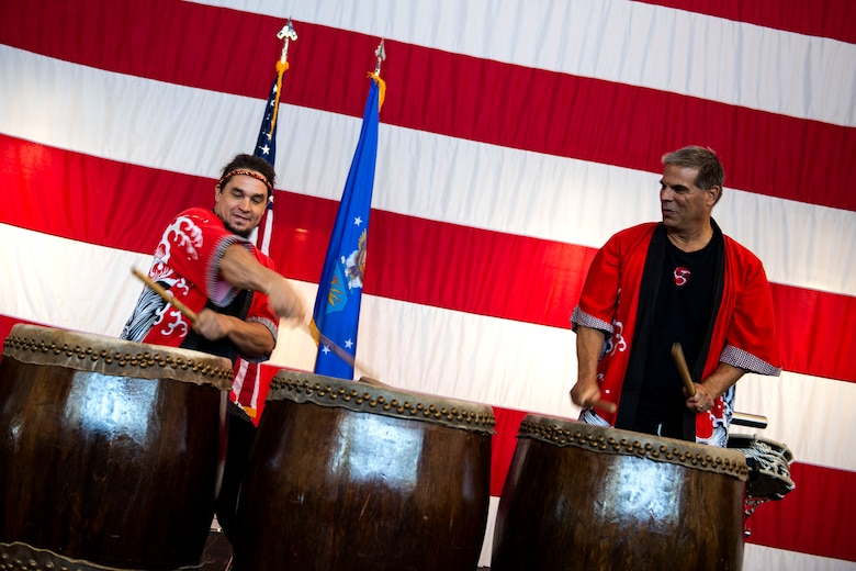 The Tampa Taiko drummers perform for an event during the third annual 23d Wing Diversity Day Aug. 29, 2019, at Moody Air Force Base, Ga. Diversity Day honored the cultures of all groups and organizations observed by the Department of Defense, from LGBTQ equality to Native American heritage, and brought Airmen from across the base together to celebrate their unique differences. This year's theme was 'It's not just black and white, open your palette, create a culture of possibilities.' (U.S. Air Force photo by Senior Airman Erick Requadt)