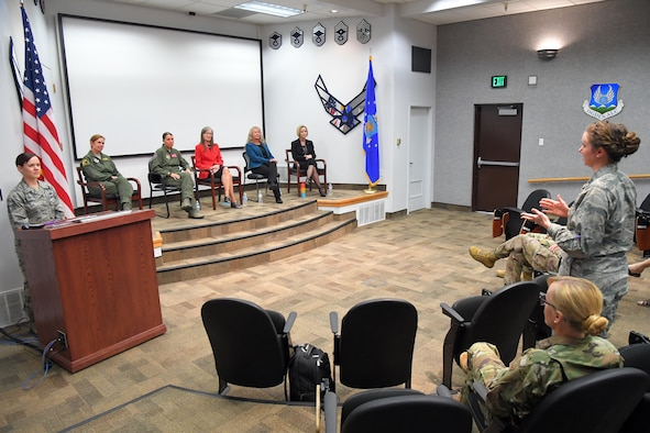 Guests participate in the question and answer portion of the Women's Equality Day panel discussion Aug 26, 2019, at Hill Air Force Base, Utah.  The panel aimed to raise awareness on how women in the armed forces, public service and government have served the nation by working to clear barriers, enforce laws, and implement new ideas. This year's event celebrates the 99th anniversary passage of the 19th Amendment to the Constitution that guaranteed women the right to vote. (U.S. Air Force photo by Todd Cromar)