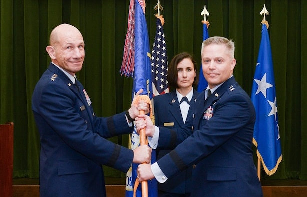 Maj. Gen. Timothy D. Haugh takes command of Twenty-Fifth Air Force from Gen. Mike Holmes, Air Combat Command commander