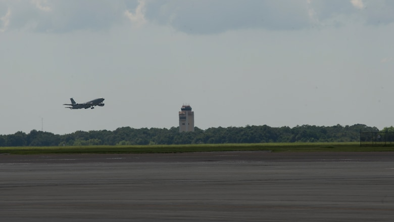 A KC-135 Stratotanker takes-off MacDill Air Force Base, Fla. Aug. 29, 2019.  MacDill's leadership team ordered the departure of the KC-135's as a precautionary measure in preparation for Hurricane Dorian. (U.S. Air Force photo by Airman 1st Class Shannon Bowman)