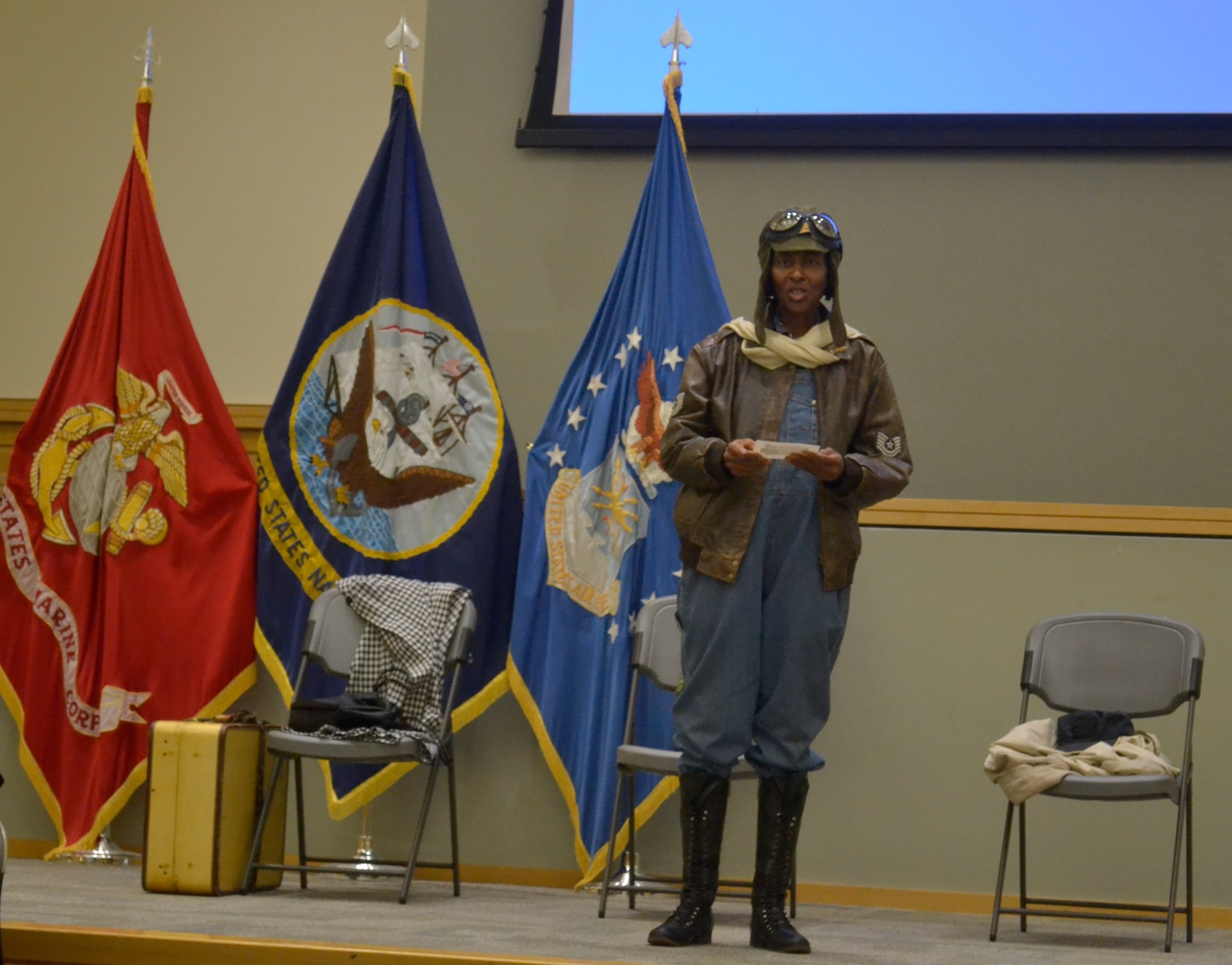 In observance of Women's Equality Day, employees from across the Naval Support Activity Philadelphia gathered on August 28 in the Defense Logistics Agency Troop Support auditorium to learn about the history of an African American woman who overcame many barriers to become a professional pilot.