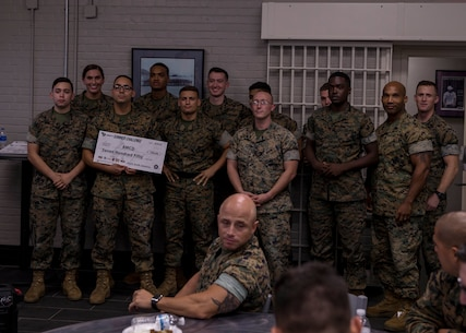 Marines with 6th Marine Corps District pose for a photo after placing 2nd in the Semper-Fit Summer Challenge aboard Marine Corps Recruit Depot Parris Island, South Carolina on Aug 29, 2019. The Semper-Fit Summer Challenge consists of mutiple events for units to participate in to recieve money towards their Marine Corps Birthday Ball. (U.S. Marine Corps photo by Cpl. Jack A. E. Rigsby)