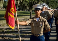 Private First Class Christian J. Bustillo completed Marine Corps recruit training as platoon honor graduate of Platoon 1066, Company C, 1st Recruit Training Battalion, Recruit Training Regiment, aboard Marine Corps Recruit Depot Parris Island, South Carolina, August 30, 2019. Bustillo was recruited by Staff Sergeant Andrew Pateras from Recruiting Substation West Palm Beach. (U.S. Marine Corps photo by Cpl. Jack A. E. Rigsby)