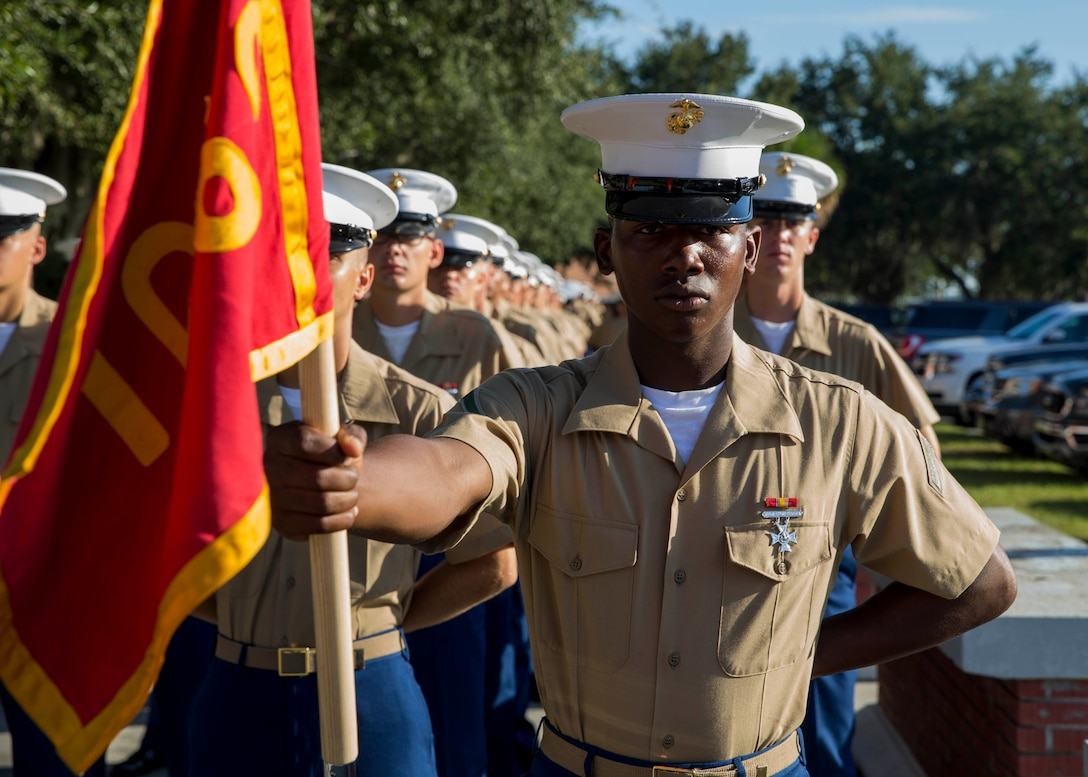 Private First Class Mark T. MarquezBurke completed Marine Corps recruit training as platoon honor graduate of Platoon 1069, Company C, 1st Recruit Training Battalion, Recruit Training Regiment, aboard Marine Corps Recruit Depot Parris Island, South Carolina, August 30, 2019. MarquezBurke was recruited by Staff Sergeant Joaquin Crisostomo from Recruiting Substation Albany. (U.S. Marine Corps photo by Cpl. Jack A. E. Rigsby)