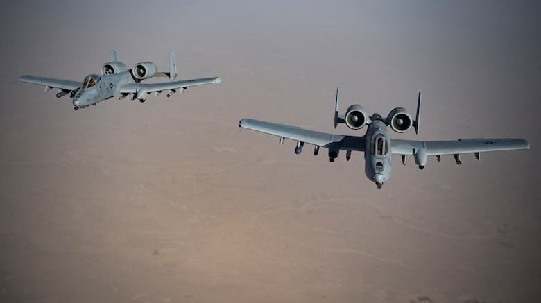 A-10 Thunderbolt IIs fly in formation