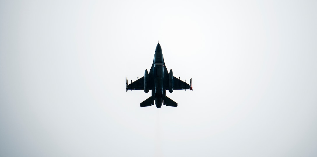 F-16 Fighting Falcon flies over Kunsan Air Base