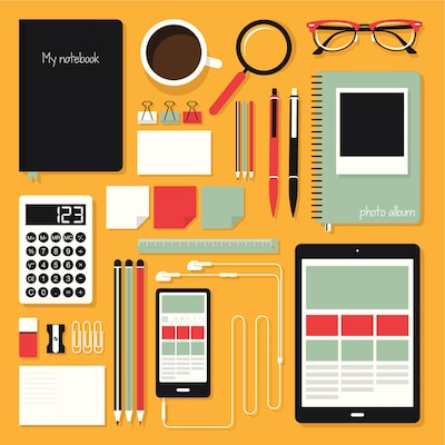 Simple graphic depicting pens, pencils, pads and other back to school items.
