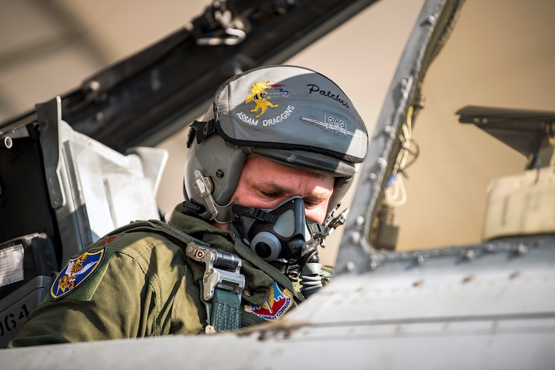 Maj. Brendhan Goss, 74th Fighter Squadron assistant director of operations, sits in the cockpit of an A-10C Thunderbolt II prior to takeoff for Little Rock Air Force Base, Ark., Aug. 30, 2019, at Moody AFB, Ga. Moody's A-10s were relocated to Little Rock in anticipation of Hurricane Dorian. (U.S. Air Force photo by Airman 1st Class Eugene Oliver)