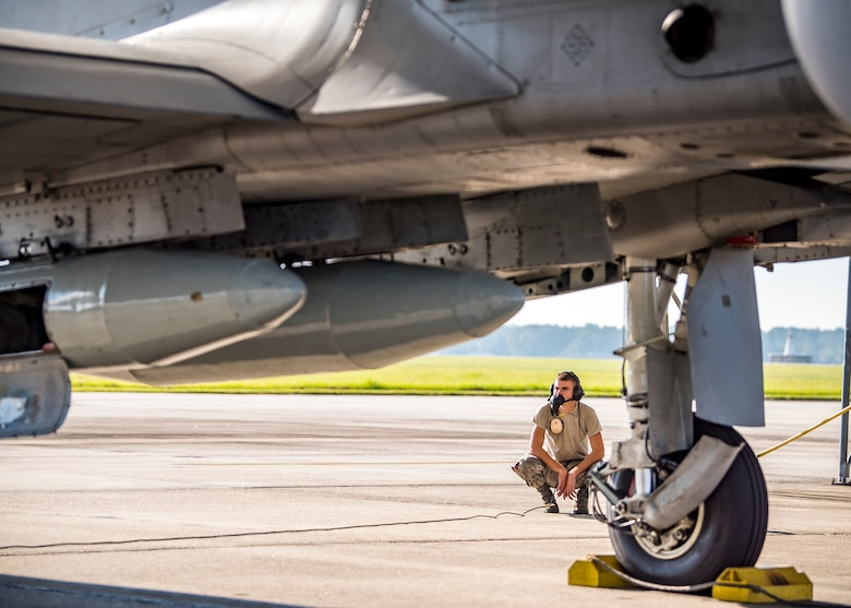 Airman 1st Class Colin Glennen, 74th Aircraft Maintenance Unit crew chief, inspects an A-10C Thunderbolt II, Aug. 30, 2019, at Moody Air Force Base, Ga. Moody's A-10s were relocated to Little Rock AFB, Ark. in anticipation of Hurricane Dorian. (U.S. Air Force photo by Airman 1st Class Eugene Oliver)